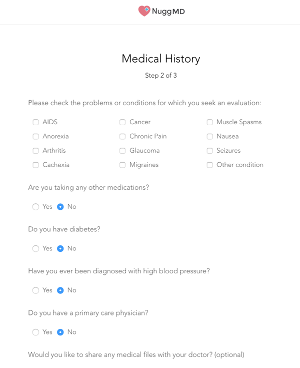 NuggMD Medical History Screen