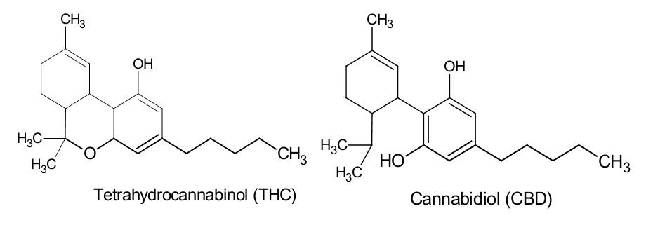 THC vs CBD molecular structure